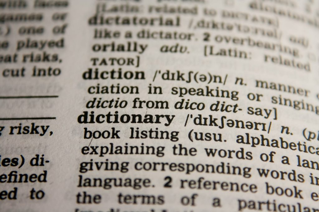 keywords example from dictionary