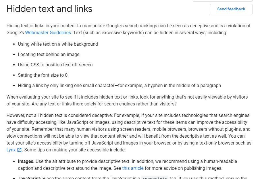google hidden links text